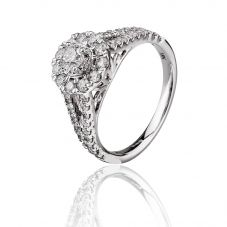 18ct White Gold 1.00ct Diamond Halo Ring THR20717-125E
