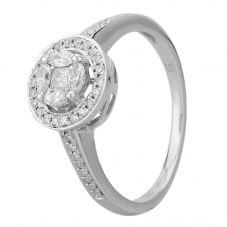 18ct White Gold 0.40ct Multi-Cut Diamond Cluster Ring THR4253