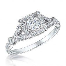 18ct White Gold Vintage 0.46ct Square Cluster Split Diamond Shoulders Ring VR12(4.0)