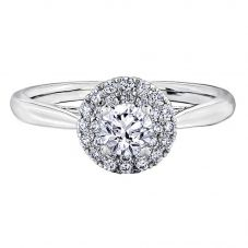 18ct White Gold 0.58ct Diamond Double Halo Cluster Ring 30032WG/58-18