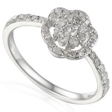 18ct White Gold Diamond Shouldered Flower Cluster Ring E35172/33/WG
