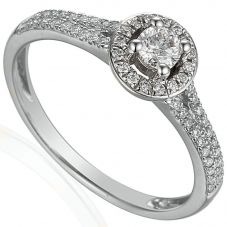 18ct White Gold Diamond Shouldered Round Halo Ring E42040/44/WG