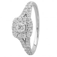 18ct White Gold 1.00ct Diamond Split Shouldered Square Halo Ring SKR19551-100