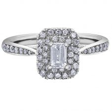 18ct White Gold 0.70ct Emerald-Cut Diamond Double Halo Cluster Ring 30341WG/70-18