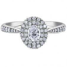 18ct White Gold 0.70ct Oval-cut Diamond Double Halo Cluster Ring 30340WG/70-18