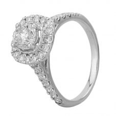 18ct White Gold 1.60ct Diamond Square Halo Ring THR18537-200E