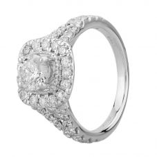 18ct White Gold 1.50ct Certificated Diamond Split Shouldered Square Halo Ring THR18549-200N-E