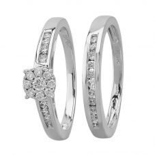 9ct White Gold 0.50ct Diamond Cluster Bridal Set SKR2955