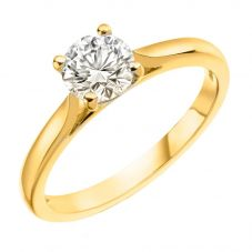 18ct Gold 0.90ct Round Brilliant Diamond Solitaire Ring SOL/RD/0191921C