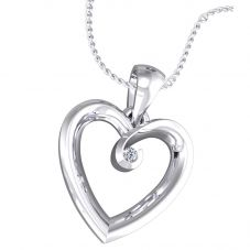 9ct White Gold Diamond Open Heart Pendant 5348P/9Y/DQ10