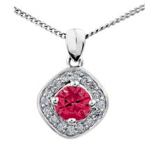 9ct White Gold Ruby and Diamond Square Cluster Pendant P2880W/40-10 RUBY