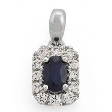 9ct White Gold Oval Sapphire And Diamond Cluster Pendant 33.07892.020