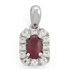 9ct White Gold Oval Ruby and Diamond Cluster Pendant 33.07892.021