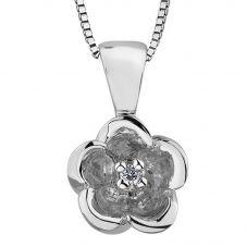 9ct White Gold 0.01ct Diamond Flower Pendant P3164W-10
