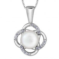 9ct White Gold Freshwater Pearl and Diamond Flower Pendant P3613W-10