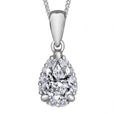 9ct White Gold 0.30ct Pear-cut Diamond Pendant P3981W/30-9