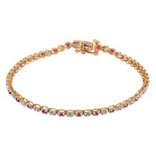 9ct Yellow Gold Ruby And Diamond Tennis Bracelet THB15917-100Rb