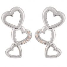 Sterling Silver Diamond-set Triple Heart Dropper Earrings SET 1 E/RINGS