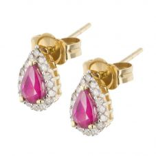 18ct Diamond Ruby Pear Shaped Studs VE0S604 18KY-RUBY
