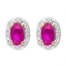9ct Diamond Ruby Oval Stud Earrings BSE0006-R