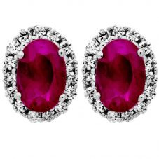 9ct White Gold Oval Ruby and Diamond Cluster Earrings DE140-RUB