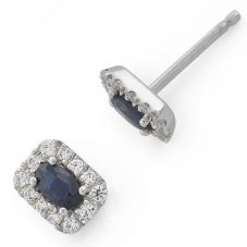 9ct White Gold Oval Sapphire and Diamond Oblong Cluster Stud Earrings 34.07892.020