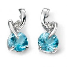 9ct White Gold Diamond and Blue Topaz Twist Studs GE994T