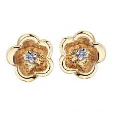 9ct Yellow Gold 0.02ct Diamond Flower Stud Earrings E3164-10