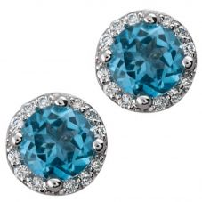 9ct White Gold Blue Topaz and Diamond Round Stud Earrings E2912W-10 B/T