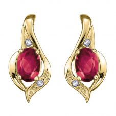 9ct Yellow Gold Ruby and Diamond Swirl Stud Earrings E1860/7-9