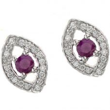 9ct White Gold Ruby and Diamond Ellipse Stud Earrings E3653W-10 RUBY