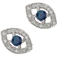 9ct White Gold Sapphire and Diamond Ellipse Stud Earrings E3653W-10 SAPH
