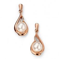 9ct Rose Gold Diamond Freshwater Pearl Swirl Dropper Earrings GE2078W