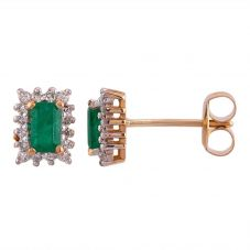 9ct Gold Baguette-Cut Emerald Diamond Cluster Stud Earrings 080-JE0031Y/EM