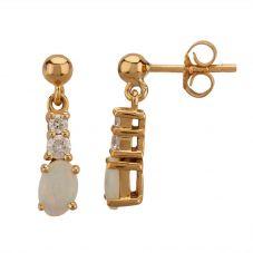 9ct Yellow Gold Oval-cut Australian Opal and Diamond Dropper Earrings ER104-OP-Y9-AUSTRALIAN