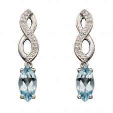 9ct White Gold Diamond Aquamarine Dropper Earrings GE2132T