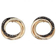 9ct Yellow Gold Black Diamond Circle Earrings GE2148