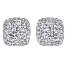 9ct White Gold 0.33ct Diamond Pavé Square Cluster Stud Earrings E3838W/33-9