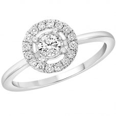 9ct White Gold 0.40ct Diamond Halo Cluster Ring 9482R040 WG