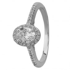 9ct White Gold 0.75ct Oval-cut Diamond Halo Ring SKR19672-75 M