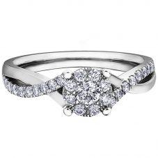9ct White Gold 0.52ct Diamond Twist Cluster Ring LB3967WG/52-10