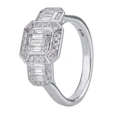 9ct White Gold 0.68ct Multi-cut Diamond Mosaic Trilogy Cluster Ring 30503WG/68-9