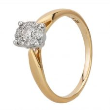 9ct Yellow Gold 0.42ct Diamond Oval Cluster Ring 30747YW/42-10