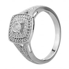 9ct White Gold 0.33ct Diamond Split Shouldered Cushion Cluster Ring SKR23794-33