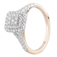 9ct Two Colour Gold 0.50ct Diamond Oblong Cluster Shouldered Ring THR23662-50