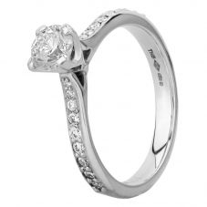 Platinum Four Claw Diamond Shouldered Solitaire Ring CRV5.0-SL25(0.50ct PLUS)-G/SI1/0.51ct