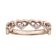 9ct Rose Gold Diamond Multiple Open Heart Ring CH566RG/12-10