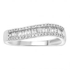 9ct White Gold 0.33ct Multi-Cut Diamond Wave Ring 9615R033 WG