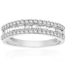9ct White Gold 0.50ct Multi-cut Diamond Three Row Half Eternity Ring 9345R050 WG