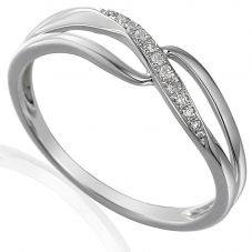 9ct White Gold Diamond Open Twist Crossover Ring E63710/4-9W